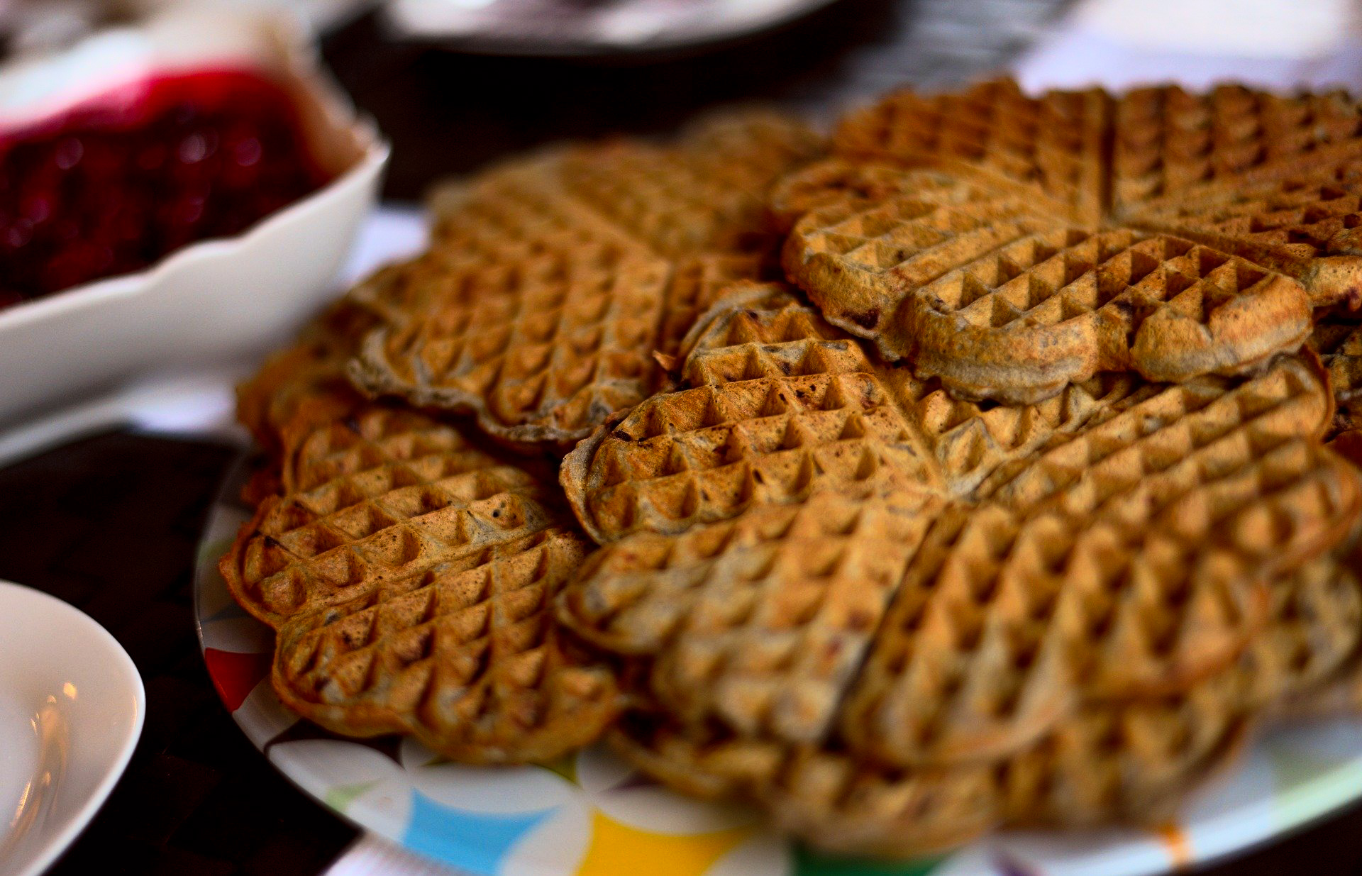 Brown cheese on waffles