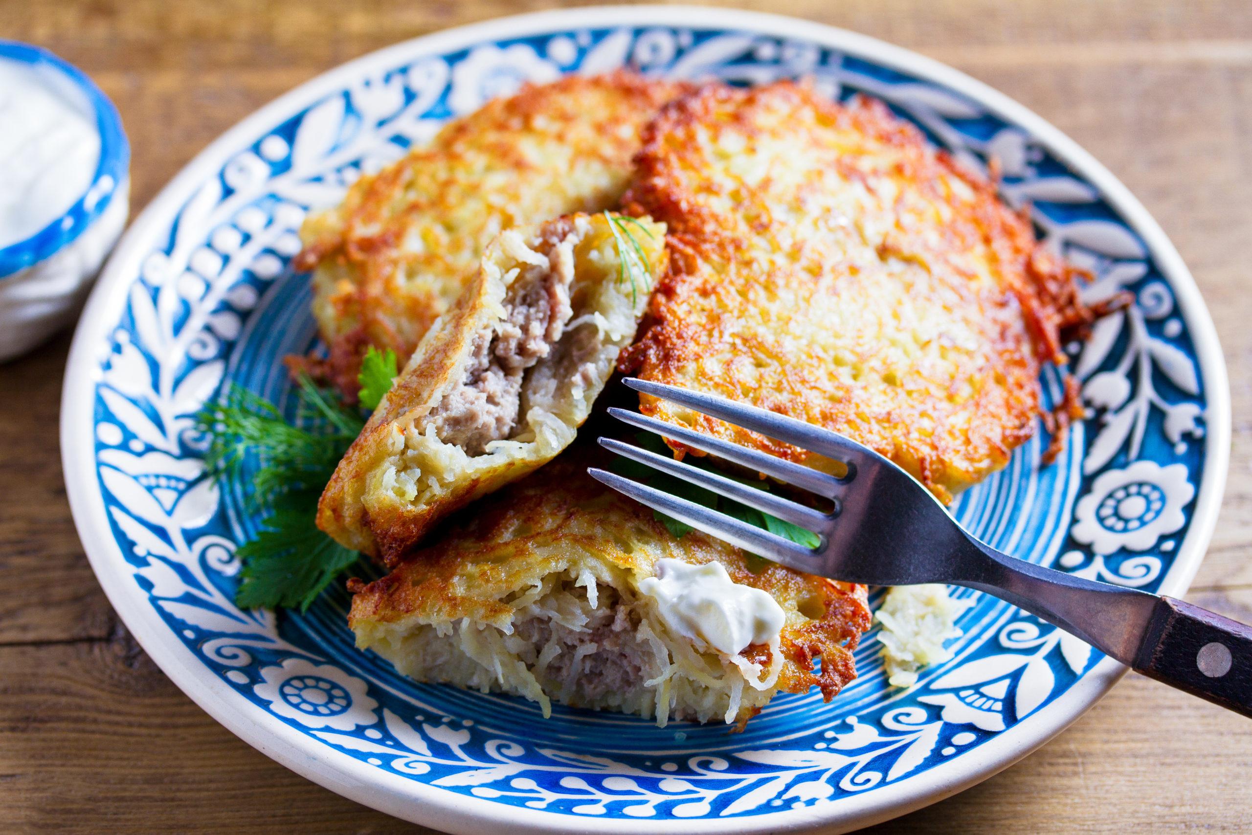 Meat-Stuffed Potato Pancakes